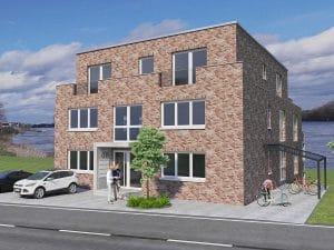 Bornheim Neubau Mehrfamilienhaus mit Rheinblick, Immobilie mit 7 WE, Straßenansicht, Architekturbüro Schopow Köln Bonn