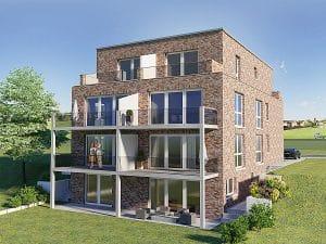 Bornheim Neubau Mehrfamilienhaus mit Rheinblick, Immobilie mit 7 WE, Gartenansicht, Architekturbüro Schopow Köln