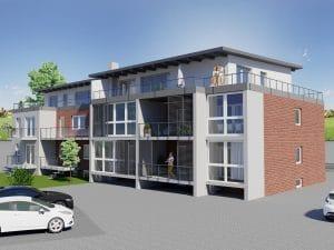 Oberhausen Mehrfamilienhaus Aufstockung Erweiterung Immobilie - Gartenansicht, Architekturbüro Schopow Köln