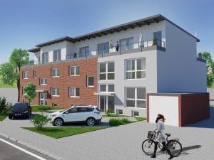 Oberhausen Mehrfamilienhaus Aufstockung Erweiterung Immobilie - Straßenansicht, Architekturbüro Schopow Köln